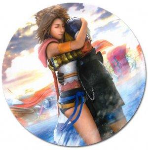 Yuna and Tidus hug--ffx/ff10--5 inch round magnet