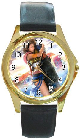 Yuna and Tidus--ffx/ff10--Round Gold Metal Watch