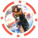 Yuna and Tidus--ffx/ff10--red Poker Chip Card Guard