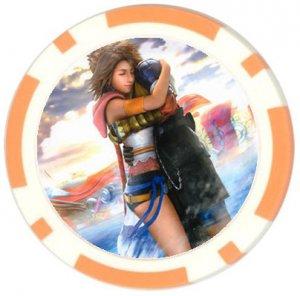 Yuna and Tidus--ffx/ff10--orange Poker Chip Card Guard