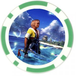Warrior Tidus--ffx/ff10--green Poker Chip Card Guard