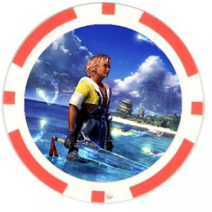 Warrior Tidus--ffx/ff10--10 red Poker Chip Card Guard