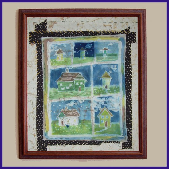 """The Neighborhood"" Primitive Folk Art Batik, Original, Framed"