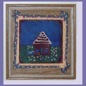 """Small House"" Framed Batik Painting, Primitive Folk Art, Quilt Block Style"