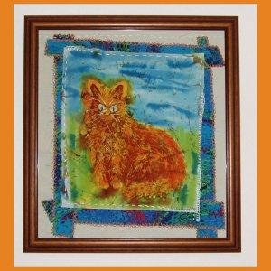 """Morning Cat"" Oroginal batik painting, prim folk art style"
