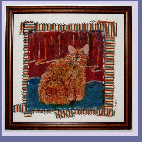 """""""Afternoon Cat"""" Original batik painting, framed"""