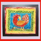 """I'm Not Done Yet"" Original Framed  Batik Painting of a Bird"