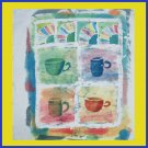 """Cups and Fans""  Original Batik painting of Coffee or Tea Cups"