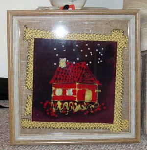"""""""Waiting Up"""" Original Framed Batik Painting of a Quilt BlLock Style House"""