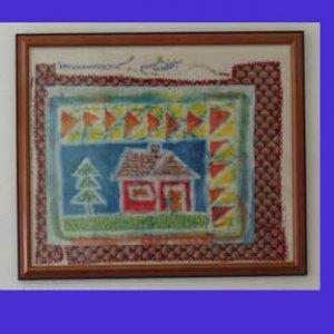 """Dogteeth House"" Original Framed Batik Painting of a Quilt Block Style House"