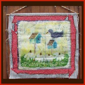 """The Landlord""  Original Batik Painting with Hand Sewn Matt, Primitive Bird and Brid House"