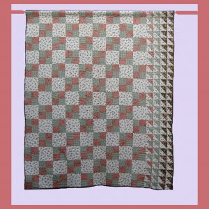 """June Fourpatch"" Queen size bed quilt 101""x86"""