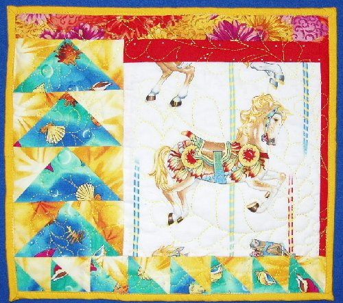 """Yellow Merry-Go-Round Horse Wall Hanging, 13"""""""