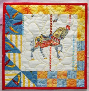 """Red Merry-Go-Round Horse Wall Hanging, 12"""""""