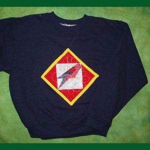 Navy Blue Parrot Quilt Sweatshirt Child Med 665