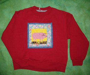 Red Child size Small sweatshirt with some pig! 678