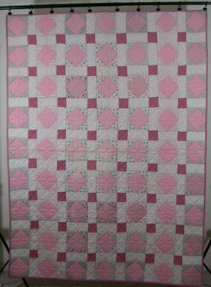 Vintage Pink Square in a Square Quilt