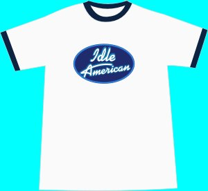 Idle American T-shirt - White-Navy Ringer MEDIUM