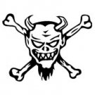 Gremlin Devil Skull and Crossed Bones Vinyl Auto Car Truck Window Decal Sticker #sku-012