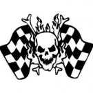 Skull And Crossed Bones Checkered Flags Vinyl Auto Car Truck Window Decal Sticker #sku-015