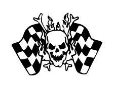 Skull And Crossed Bones Checkered Flags Vinyl Auto Car Truck Window Decal Sticker #sku-015