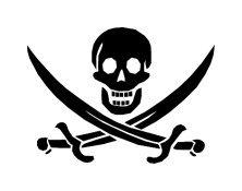 Pirate Skull with Crossed Swords Vinyl Window Graphic Decal sku-028