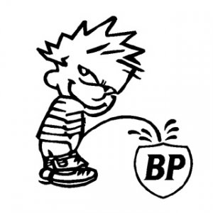 "6"" Calvin Piss on BP Vinyl Decal Window Sticker"
