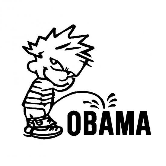"12"" Calvin Pee Piss on Anti Obama Vinyl Decal Window Sticker Political Humor"