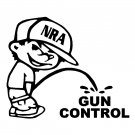 "6"" NRA Calvin Pee Piss on Obama's Liberal Gun Control Vinyl Decal Window Sticker"