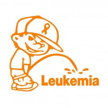 """6"""" Calvin Pee Piss on Leukemia Vinyl Decal Window Sticker"""