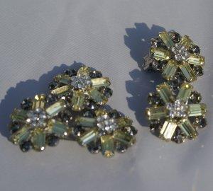 Vintage Art Deco Rhinestone Brooch & Earrings c1925