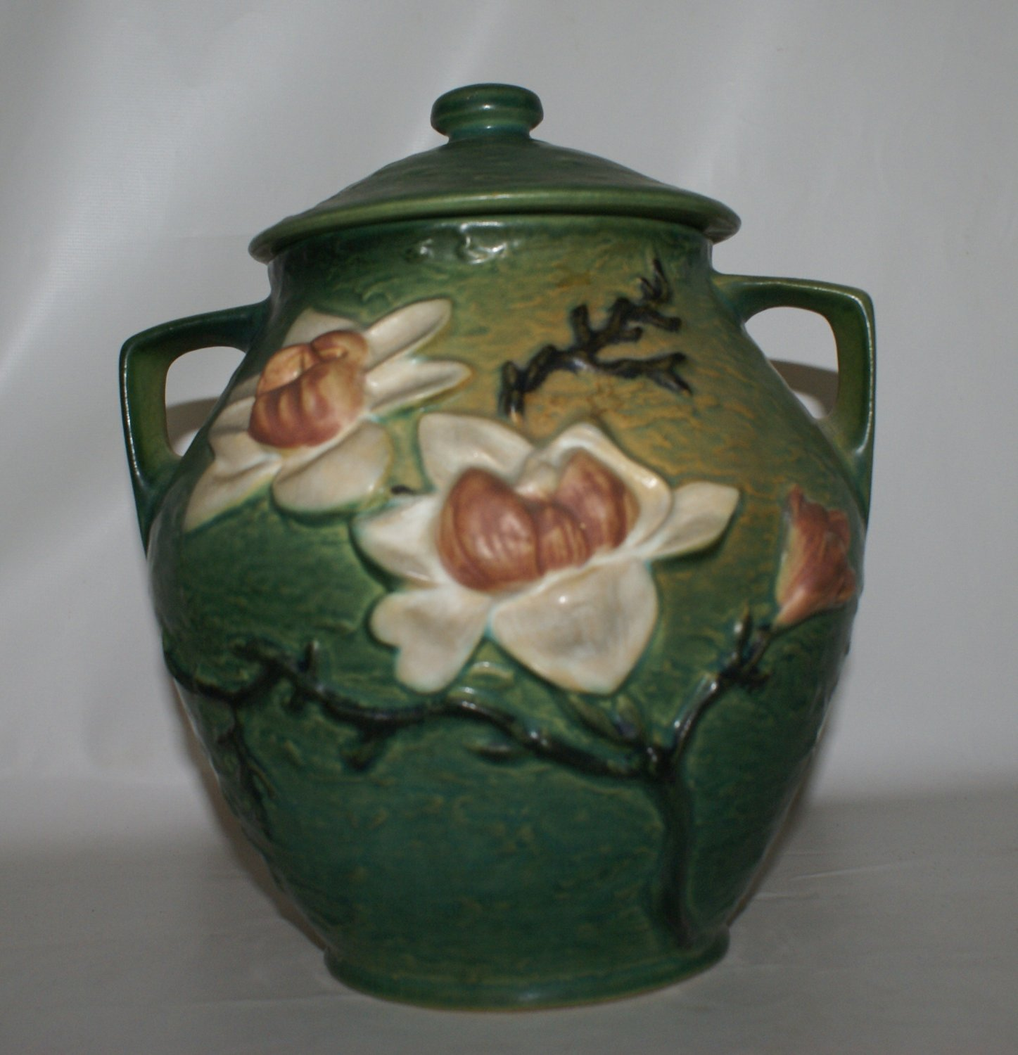 Roseville Teal Green Magnolia Cookie Jar
