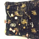 Antique Velvet Hand Embroidered Victorian Pin Cushion With Antique Pins