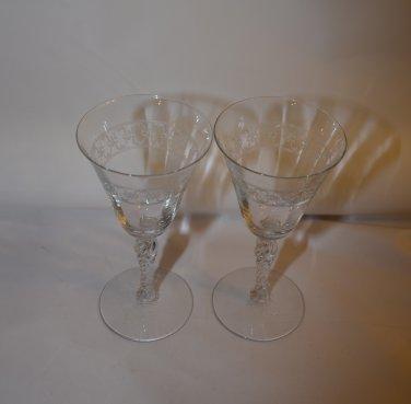 Antique Cambridge Caprice Etched Wine Glasses