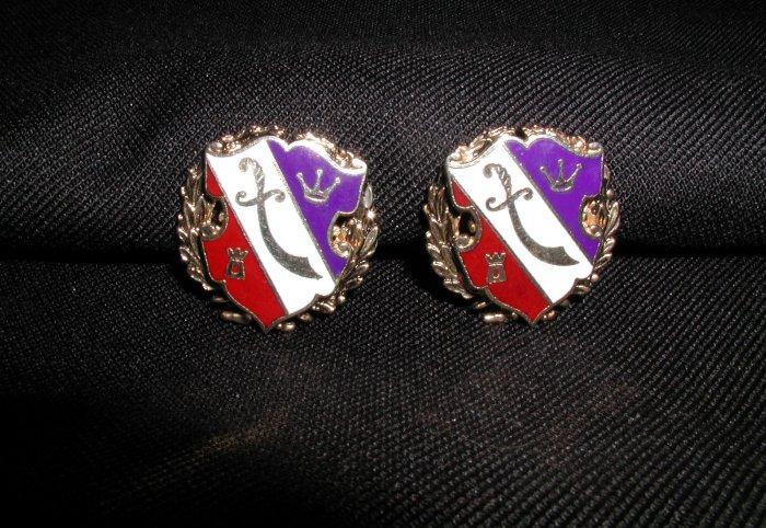Coro Red White Blue Enamel Shield Clip Earrings Sword Crest