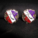 Coro Red White Blue Enamel Shield Clip Earrings Sword Crest