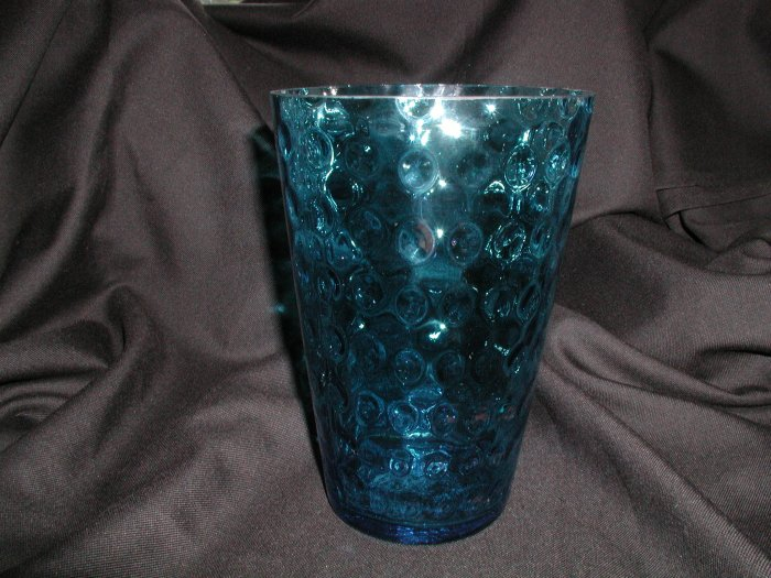 Huge Flip Glass Vase, Beautiful Aqua Blue Thumbprint