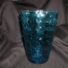 Huge Flip Glass Vase, Beautiful Aqua Blue Thumbprint
