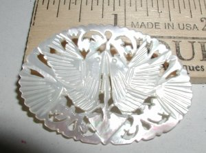Carved Mother Of Pearl Brooch Jerusalem