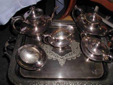 "ANTIQUE REED & BARTON UNIQUE SILVER TEA & COFFEE SET 1889-1914 ""B"" MONOGRAM"