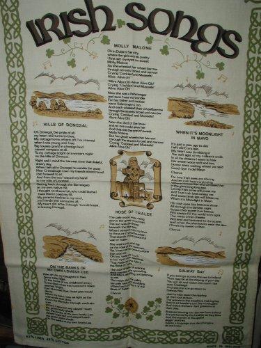 Irish Songs and Ballads Tea Towel, Rose of Tralee, Molly Malone, Galaway Bay