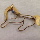 Vintage Gold Filled Pony Brooch with Saphire Rhinestone Eye