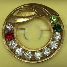 Vintage Catamore 12 kt Gold Filled Grandmother Brooch with Rhinestones Birthday