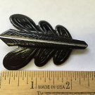 Vintage Black Mourning Celluloid Oak Leaf Brooch Unusual Color