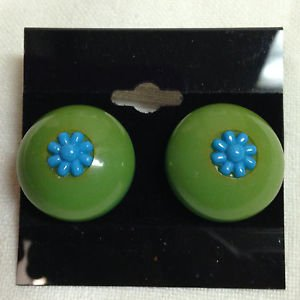 Vintage Bakelite Green and Turquoise Clip Earrings