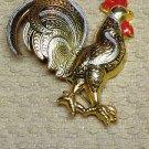 Toledoware Toledo Ware Damascene Style Rooster Brooch Signed Spain