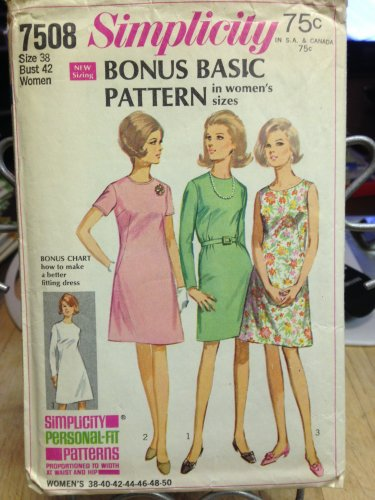 Simplicity Vintage Pattern #7508  New Unused, Factory Folded Size 38