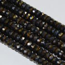 Czech fire-polished glass, hematite/gold luster, 8x4mm Faceted Rondelle 16-inch Strand Qty 1