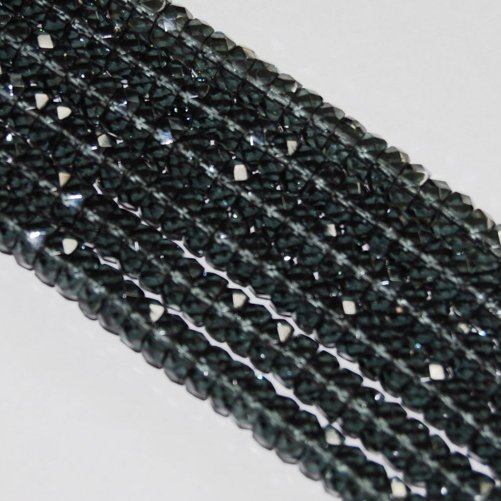 Czech fire-polished glass Montana Gray Blue 8x4mm Faceted Rondelle 16-inch Strand Qty 1