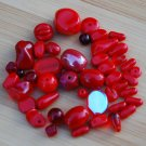 Ruby Red AB Czech Glass Beads Mix Assorted Shapes